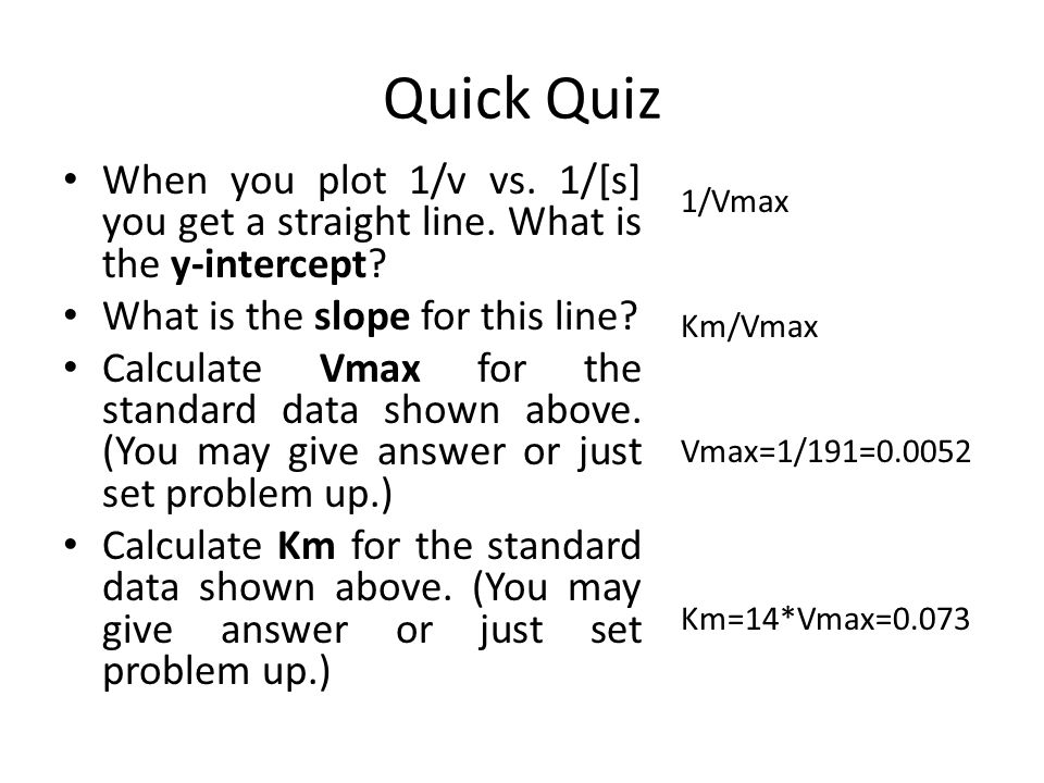 Quick Quiz When you plot 1/v vs. 1/[s] you get a straight line. What is the y-intercept What is the slope for this line